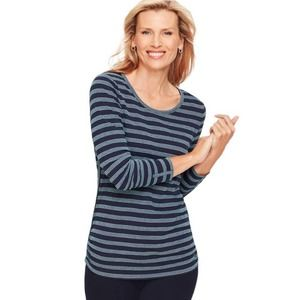 NWOT T by Talbots Ruched Side Stripe Tee Blue